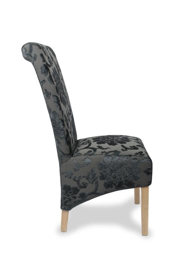 Pair Of Krista Baroque Charcoal Upholstered Roll Back  : pair of krista baroque charcoal upholstered roll back dining chairs 3 64307 p from www.uniquechicfurniture.co.uk size 600 x 903 jpeg 28kB